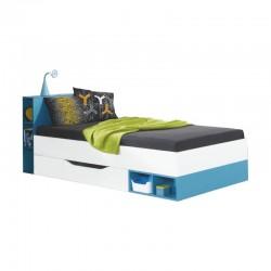 Łóżko MOBI MO18 - biały lux + turkus